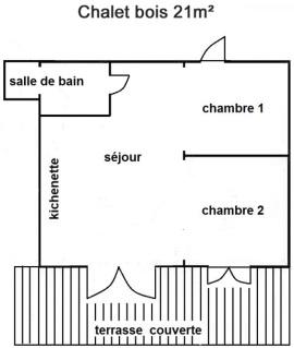 Plan intérieur du chalet 5 personnes 21 m²