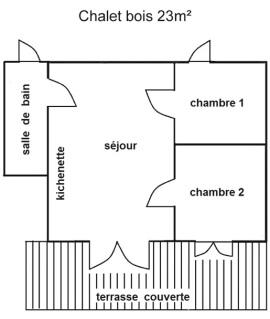 Plan intérieur du chalet 5 personnes 23 m²